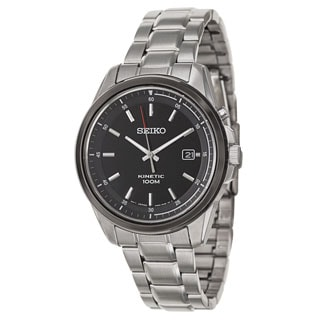 Seiko Men's SKA679 Stainless Steel Black Dial Kinetic Watch