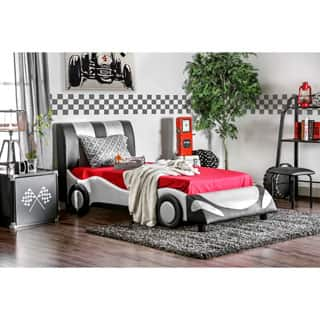 Furniture of America Silver Striped Speedster Leatherette Youth Bed|https://ak1.ostkcdn.com/images/products/P17088590a.jpg?impolicy=medium