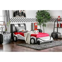Furniture of America Silver Striped Speedster Leatherette Youth Bed