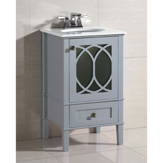 WYNDENHALL Mulberry 20-inch White Quartz Marble Top Bath Vanity