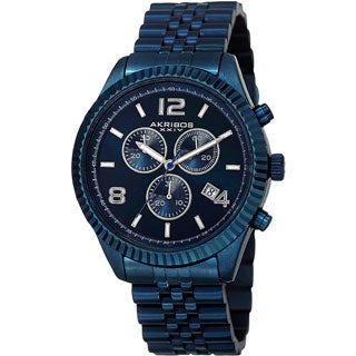 Akribos XXIV Men's Swiss Quartz Chronograph Stainless Steel Blue Bracelet Watch