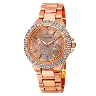Akribos XXIV Women's Dazzling Swiss Quartz Multifunction Crystal Bezel Rose-Tone Bracelet Watch