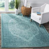 "Safavieh Classic Vintage Overdyed Aqua Cotton Distressed Rug (6'7 x 9'2) - 6'7"" x 9'2"""