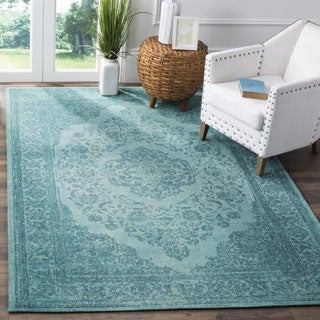 Safavieh Classic Vintage Overdyed Aqua Cotton Distressed Rug (8' x 11')