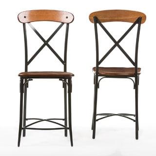 "Industrial Medium Brown Wood 24"" Counter Stool by Baxton Studio"