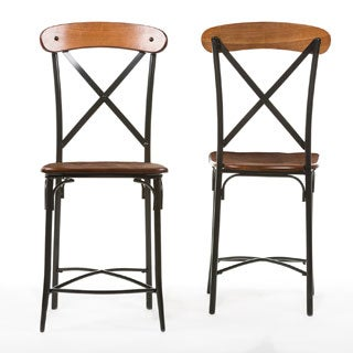 "Industrial Medium Brown Wood 24"" Counter Stool by Baxton Studio"