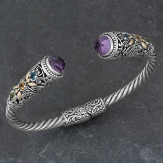 Handmade 18k Gold and Sterling Silver Amethyst Multi-stone Cawi Cuff Bracelet (Indonesia)