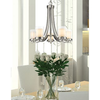 Avery Home Lighting Willow 5-light Brushed Nickel Inner Matte Opal and Outer Clear Chandelier