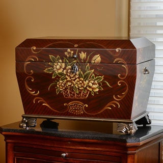 Life Chest Prague Deep Cherry and Rosewood Hand-painted Hope Chest