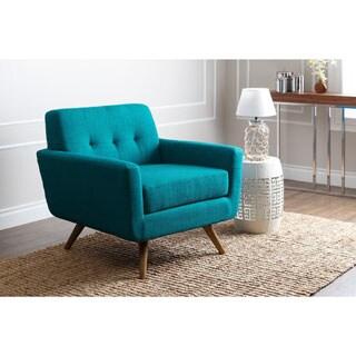 Abbyson Bradley Teal Mid-Century Fabric Armchair
