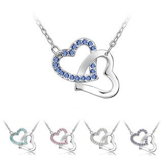 Princess Ice platinum-plated 2-linked Hearts Crystal Pendant