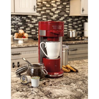 Hamilton Beach Red Programmable Single-serve Coffee Maker with 40-Ounce Water Reservoir