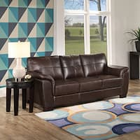 Abbyson Beliz Brown Leather Sofa