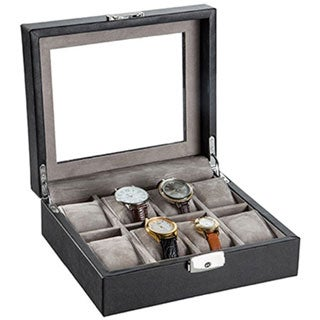 Black Leather Glass Top Watch Box