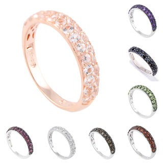 Pinctore Sterling Silver Gemstone Stack Band Ring