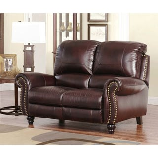 abbyson top grain leather pushback reclining loveseat