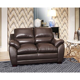 Abbyson 'Monarch' Top Grain Brown Leather Loveseat
