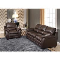 Abbyson Monarch Top Grain Brown Leather Sofa and Armchair