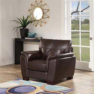 Abbyson Belize Top Grain Brown Leather Armchair