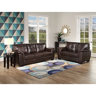Abbyson 'Belize' Top Grain Brown Leather Sofa and Loveseat