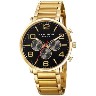 Akribos XXIV Men's Swiss Quartz Multifunction Dual Time Stainless Steel Black Bracelet Watch
