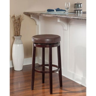 Porch & Den Prospect Hill Aldersey Backless Brown Bar Stool with Swivel Seat