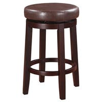 Linon Dorothy Brown Wood/Vinyl Backless Counter Stool with Swivel Seat