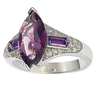Suzy Levian Sterling Silver Purple Marquise Cubic Zirconia Ring