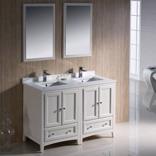 width of double vanity. Fresca Oxford 48 inch Antique White Traditional Double Sink Bathroom Vanity Size Vanities 41 50 Inches