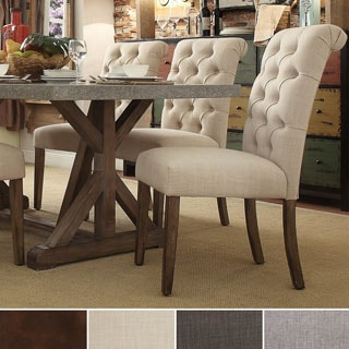 TRIBECCA HOME Benchwright Button Tufts Upholstered Rolled Back Parsons Chairs (Set of 2) (As Is Item)