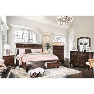 Furniture of America Barelle I Cherry 4-Piece Bedroom Set