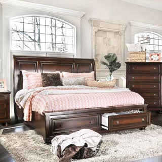 Furniture of America Barelle Cherry Platform Bed with Footboard Drawers