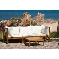 Safavieh Lynwood Modular Teak Brown/ Beige Outdoor Sectional