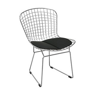 Mod Made Mid Century Modern Chrome Wire Modern Dining Chair with Faux Leather Interchangeable Seat Pads