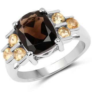 Olivia Leone 3.45 Carat Smoky Quartz and Citrine .925 Sterling Silver Ring