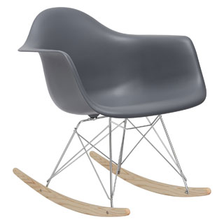 Poly and Bark Rocker Lounge Chair in Grey