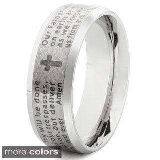 Stainless Steel Beveled Edge Lord's Prayer Band Ring (6-8mm) (More options available)