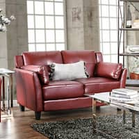 Furniture of America Pierson Double Stitched Leatherette Loveseat