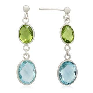 Sterling Silver Oval-Cut Gemstones Dangle Earrings