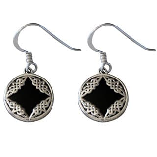 Handmade Sterling Silver Celtic Design Black Onyx Earrings (Thailand)
