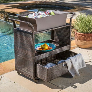 Christopher Knight Home Ravenna Outdoor Wicker Bar Cart