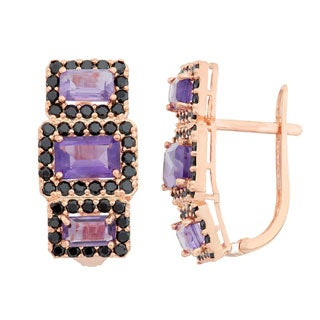 Sterling Silver Rose Gold over Silver Amethyst and Black Spinel Earrings