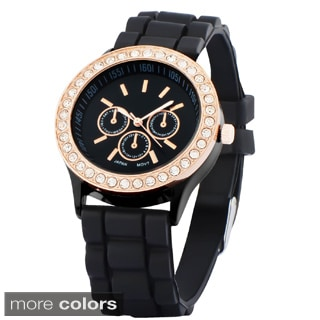 Zodaca Analog Quartz Silicone Jelly Sports Watch with Rhinestones Decoration