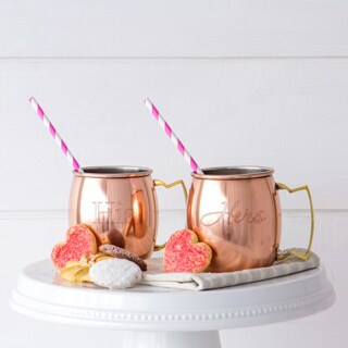 His / Hers Moscow Mule Copper Mug w/ Unique Handle (Set of 2)