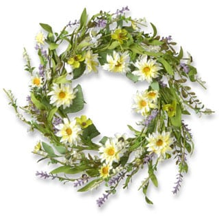 20-inch Floral Wreath with Daisy-Yellow/White