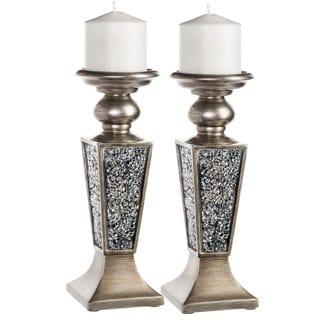 Schonwerk Silver Decorative Candle Holder (Set of 2)