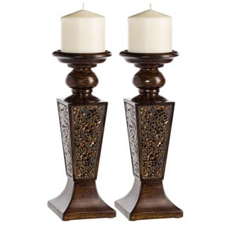 Schonwerk Walnut Decorative Candle Holder (set of 2)