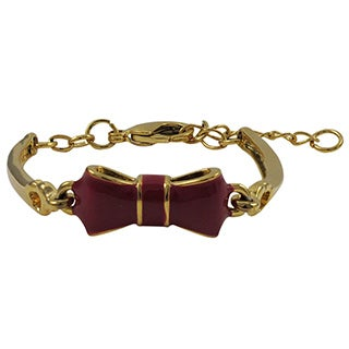Gold Finish Girls Enamel Bow Bangle Bracelet