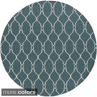 Hand-Woven Doris Moroccan Trellis Wool Rug (8' Round)