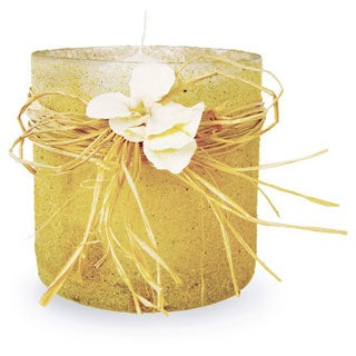 Sand Rolled Candle Votive with Raffia Bow and Single Hydrangea (Candle Included)